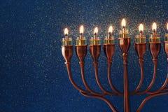 Bild jüdischen Feiertag Chanukka-Hintergrundes Stockbild