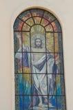 Bild Jesus Christ på det kyrkliga fönstret Arkivbilder