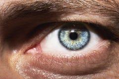 Bild Mann ` s des Abschlusses blauen Auges oben Stockfoto