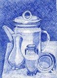 Bild med en tekanna stock illustrationer