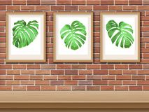 Bild med monstera på en tegelstenvägg stock illustrationer