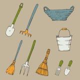 Bild med trädgårds- hjälpmedel Stock Illustrationer