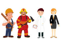 Bild mit 4 Arbeitskräften, einem Erbauer, einem Feuerwehrmann, einem Doktor und Büroangestelltem Lizenzfreies Stockfoto
