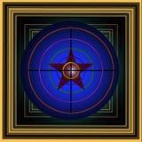 Bild mit einem mehrfarbigen Ziel mit einem roten Stern Stockbild