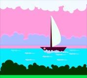 Bild mit Natur und einem Schiff auf dem Wasser in den Schatten des Rosas Lizenzfreie Stockfotos