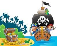 Bild mit Piratenschiffthema 8 stock abbildung