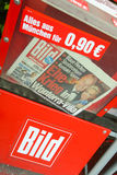 Bild newspapers. MUNICH, GERMANY - MAY 6, 2017 : Newspaper vending machine with tabloid Bild in Munich, Germany Royalty Free Stock Photo