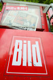 Bild newspapers. MUNICH, GERMANY - MAY 6, 2017 : Newspaper vending machine with tabloid Bild in Munich, Germany Royalty Free Stock Image