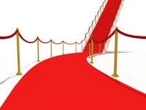 Bild på trappuppgången med röd matta Arkivfoto