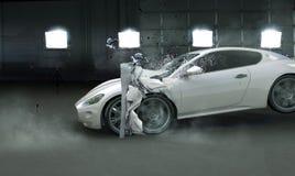Bild som framlägger den kraschade dyra bilen Royaltyfria Foton