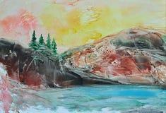 Bild som målar landskap Arkivbilder