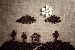 Bild som målas med kaffebönor Arkivbilder