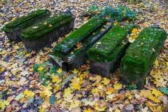 Bild von alten Gräbern im Friedhof der Kirche der Enthauptung von Johannes der Täufer in Dyakovo, Kolomenskoye, Moskau Lizenzfreie Stockfotografie