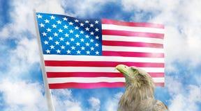 Bild von Amerika-Flagge auf einem blauen Hintergrund Abbildung 3D Stockfotos