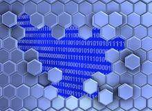 Bild von den blauen Hexagonen gebrochen bis zum der digitalen Ära vektor abbildung