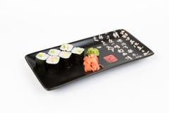 Bild von den geschmackvollen Sushi eingestellt mit Garnele Lizenzfreie Stockfotos