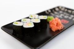 Bild von den geschmackvollen Sushi eingestellt mit Garnele Lizenzfreie Stockbilder