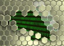 Bild von den silbernen Hexagonen gebrochen bis zum der digitalen Ära lizenzfreie abbildung