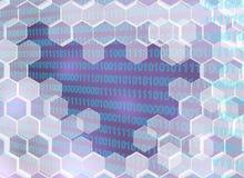 Bild von den transparenten Hexagonen gebrochen bis zum der digitalen Ära vektor abbildung