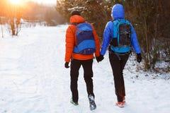 Bild von der Rückseite des Mannes und der Frau mit Rucksäcken im Winterwald Lizenzfreie Stockfotos