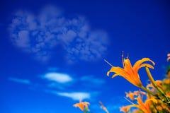 Bild von eine Herzwolke auf blauem Himmel Lizenzfreie Stockbilder