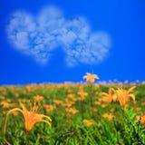 Bild von eine Herzwolke auf blauem Himmel Lizenzfreie Stockfotografie