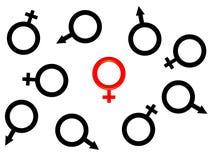 Bild von einem roten weiblichen Symbol. lizenzfreie abbildung