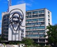 Bild von Fidel Castro On Building In Havana Kuba Lizenzfreies Stockbild