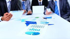Bild von Geschäftsunterlagen mit Arbeitsteam Stockfotografie