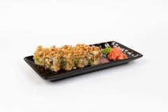 Bild von geschmackvollen Sushi stellte mit Garnele und Zwiebel ein Stockfoto
