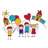 Bild von glücklichen Schulkindern Stockbild