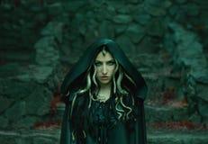 Bild von Gorgon Medusa, von Zopfhaar und von Gold schlängelt sich, Nahaufnahmeporträt Gotisches Make-up in den grünen Schatten Hi stockfotos