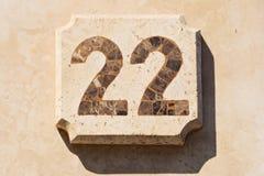 Bild von Hausnummer 22 Lizenzfreie Stockbilder