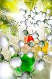 Bild von Laborglaswaren auf DNA-Strangs-Hintergrundnahaufnahme stockbilder