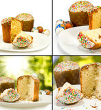 Bild von Ostereiern und von Nahaufnahme des kleinen Kuchens Lizenzfreies Stockfoto
