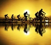 Bild von sportlichen Firmenfreunden auf Fahrrädern draußen gegen Sonne Lizenzfreie Stockfotos