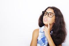 Bild von tragenden Gläsern eines schönen afrikanischen jungen Mädchens Stockfotografie