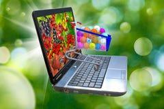 Bild von vielen von Beeren auf einem Laptopschirm, stilisierte Vitamine in der Lebensmittellaufkatze Lizenzfreies Stockfoto
