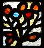 Bild Windows, bunte Buntglasfenster mit dem falschen Block, Mehrfarbenmuster, rundes Format Das Buntglasmuster Stockbilder