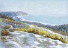 Bild ` Winter-Dünen ` Papier, Pastell Lizenzfreie Stockfotos