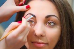 Bilda ögonbrynet med den speciala produkten och borsten Arkivbild
