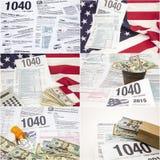 Bilda collage 1040 för pengar för droger för IRS-inkomstskattamerikanska flaggan Fotografering för Bildbyråer