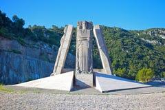 Bildande av statyer i cirkeln - Frankrike arkivfoto