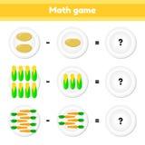 Bildande en matematisk lek Logikuppgift för barn subtraktion Grönsaker Potatisar havre, morötter vektor illustrationer