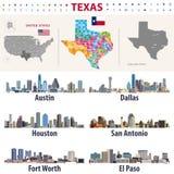 Bildande för län för visning för översikt för vektor för Texas ` s höga detaljerade Horisonter för störst städer av Texas stock illustrationer