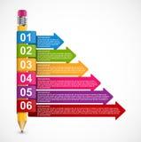 Bildande Infographics mall med blyertspennan och kulöra pilar Arkivfoton