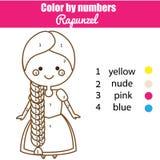 Bildande lek för barn Färga sidan med den Rapunzel prinsessan royaltyfri illustrationer