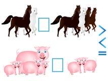 Bildande lek för barn, jämförelse av numret av djur stock illustrationer