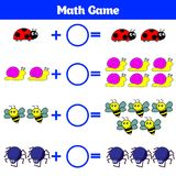 Bildande lek för matematik för barn Lära subtraktionsarbetssedeln för ungar som räknar aktivitet också vektor för coreldrawillust Royaltyfria Foton