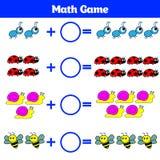 Bildande lek för matematik för barn Lära subtraktionsarbetssedeln för ungar som räknar aktivitet också vektor för coreldrawillust Royaltyfri Bild